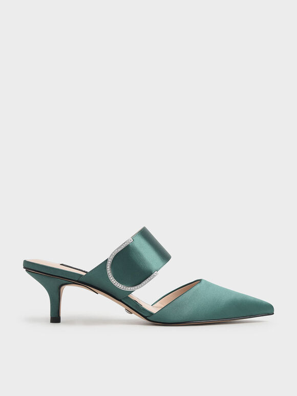 Satin Gem Encrusted Mules, Green, hi-res
