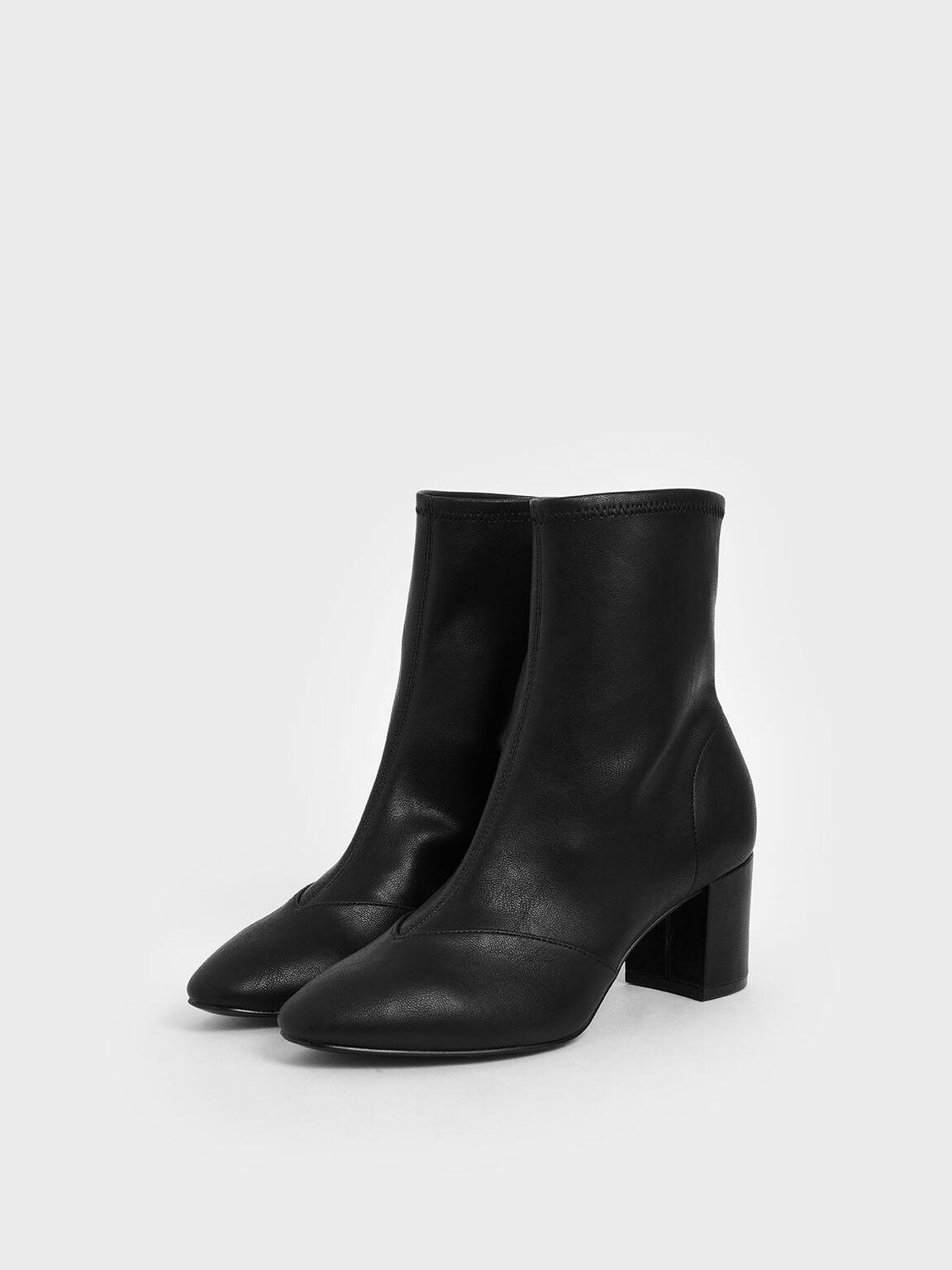 素面粗跟短靴, 黑色, hi-res