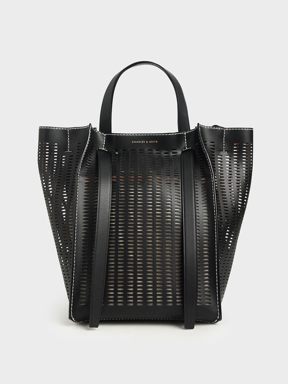 Large Laser-Cut Tote Bag, Black, hi-res