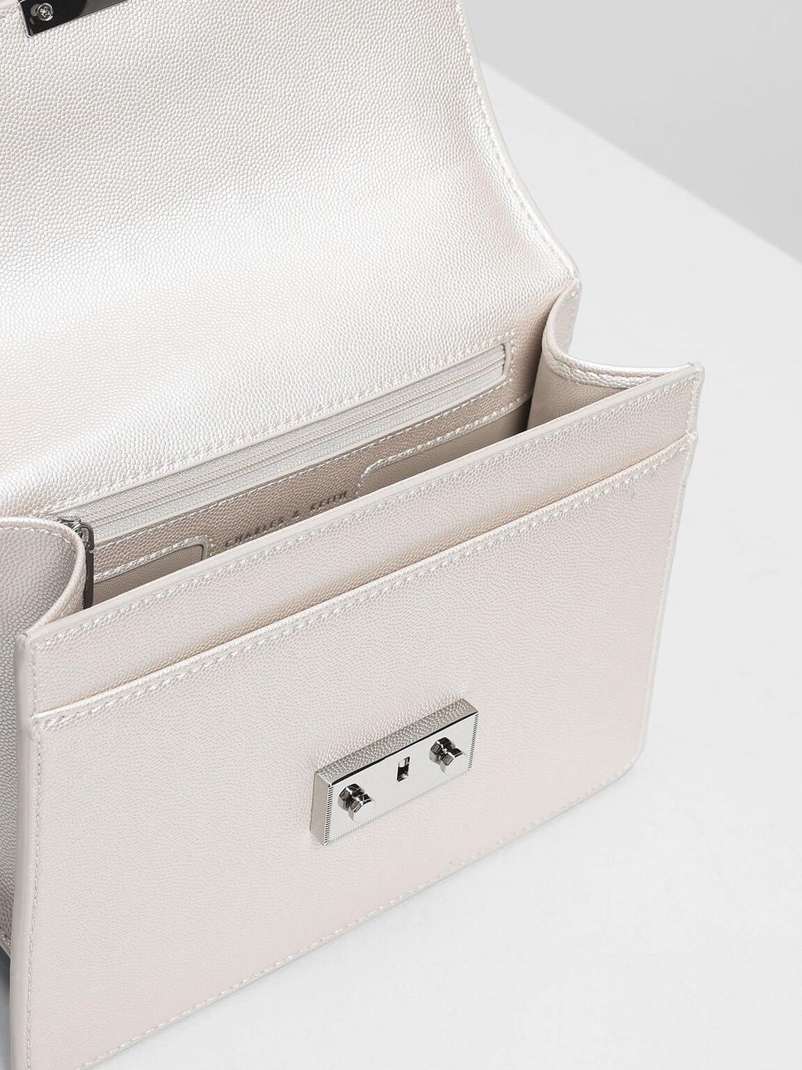 Push Lock Front Flap Bag, Pearl, hi-res