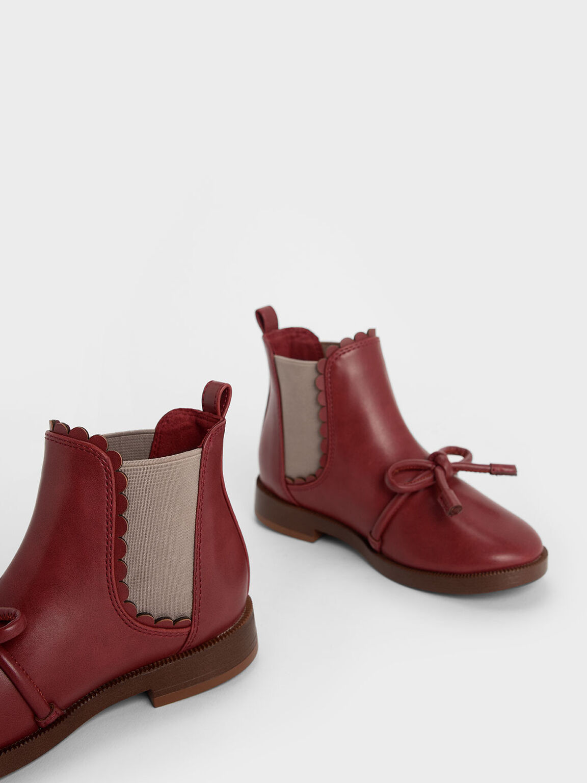 Girls' Scallop Detail Ribbon Tie Chelsea Boots, Brick, hi-res