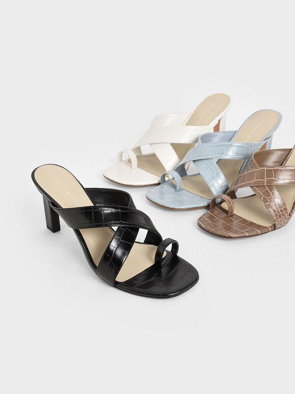 交叉帶夾腳拖鞋, 黑色, hi-res