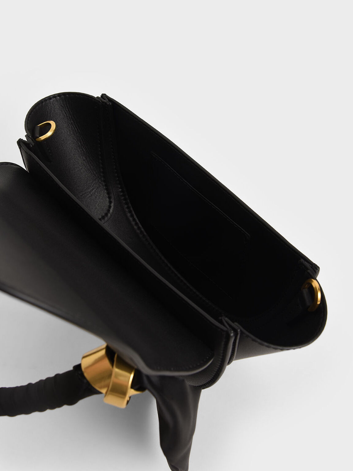 Satin Pleated Scarf Half Moon Bag, Black, hi-res