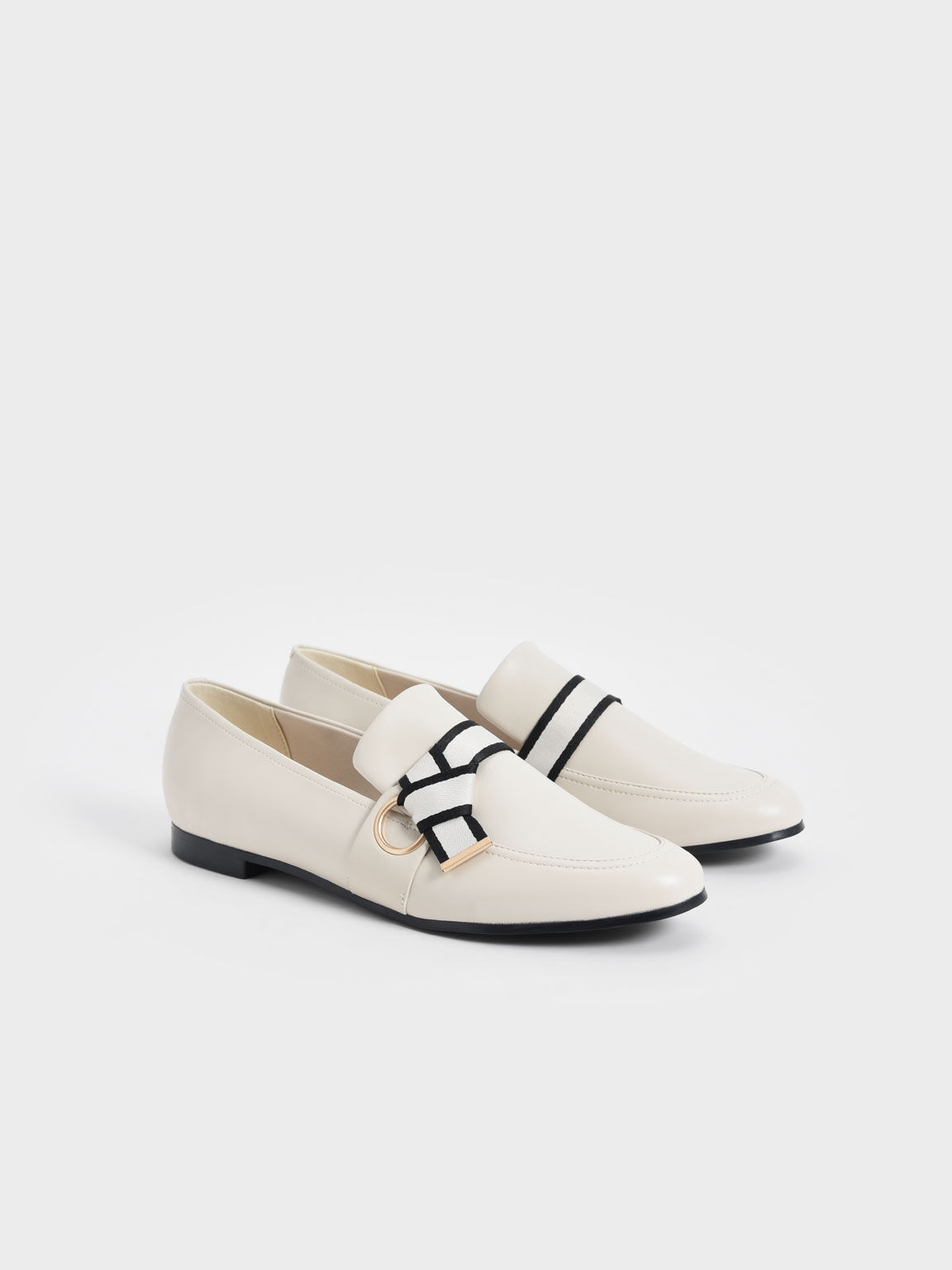 Fabric Knot Penny Loafers, Chalk, hi-res