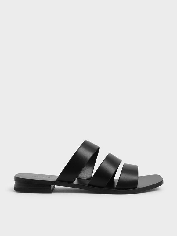 Tri-Strap Slide Sandals, Black, hi-res