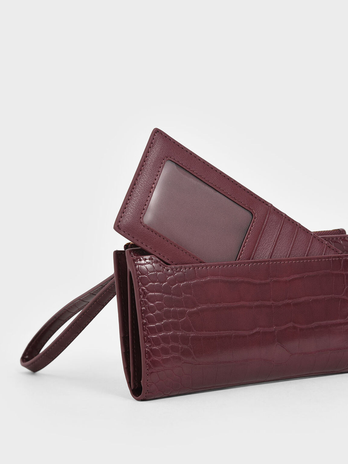 Mini Croc-Effect Wristlet Wallet, Burgundy, hi-res