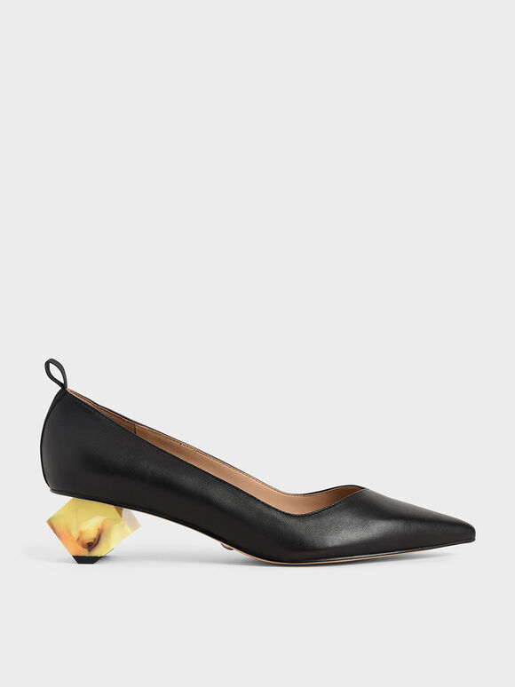 Leather Sculptural Heel Pumps, Black, hi-res