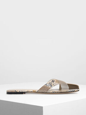 Asymmetrical Strap Snake Print Slide Sandals, Pink