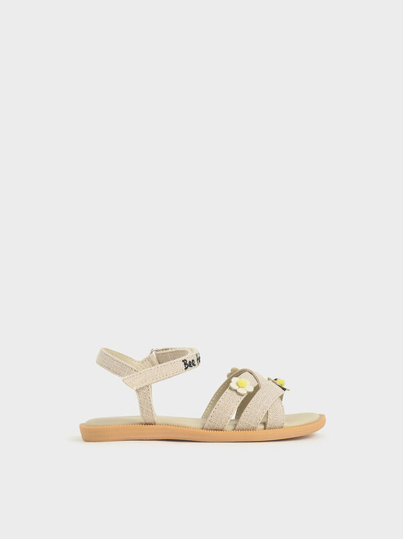 Summer 2020 Responsible Collection: Girls' Bee Motif Flat Sandals, Beige, hi-res