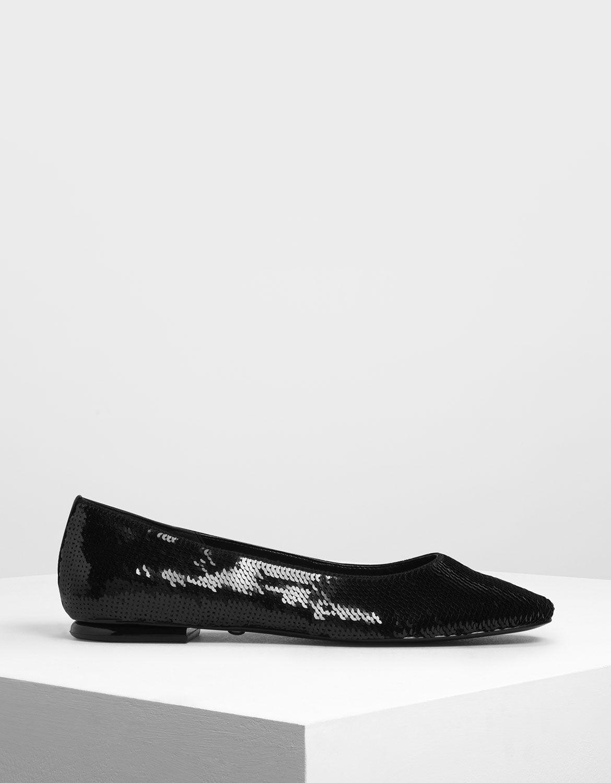 Black Sequin Mesh Ballerina Flats