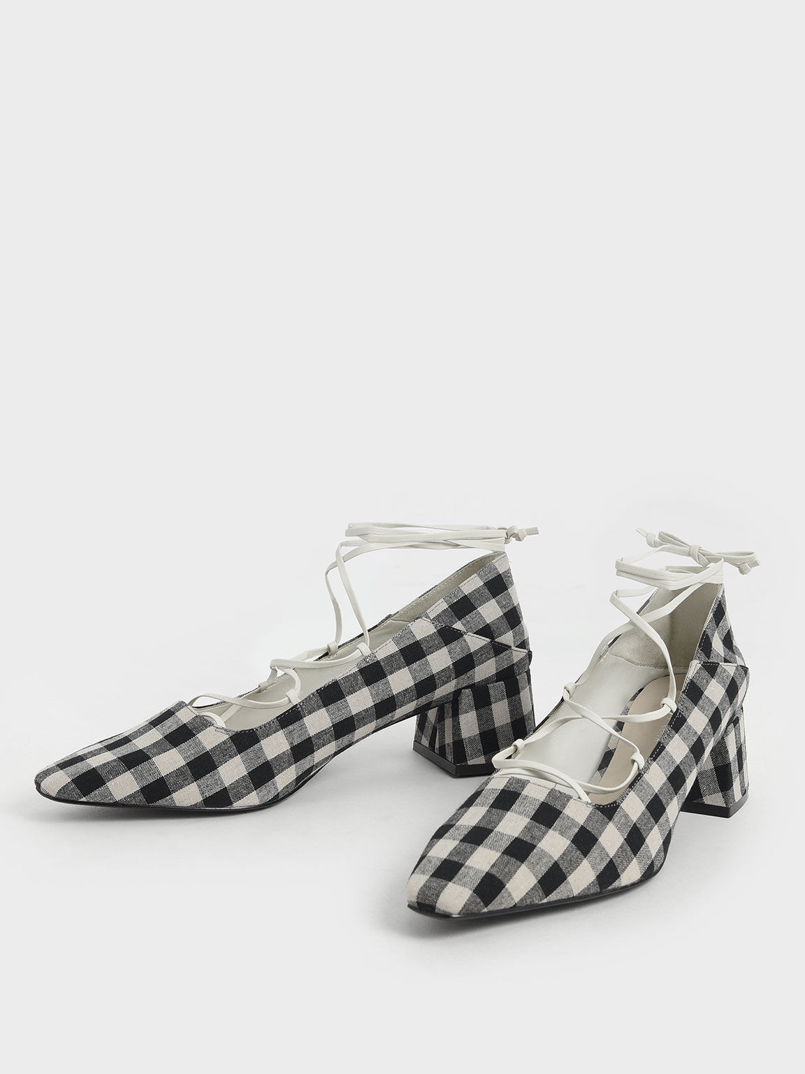 繫踝綁帶格紋鞋, 黑色, hi-res