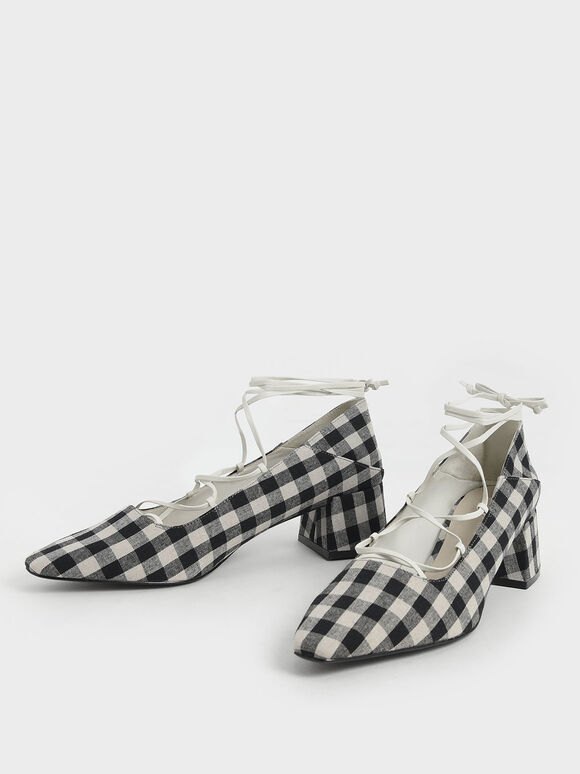 Woven Gingham Ankle Tie Pumps, Black, hi-res
