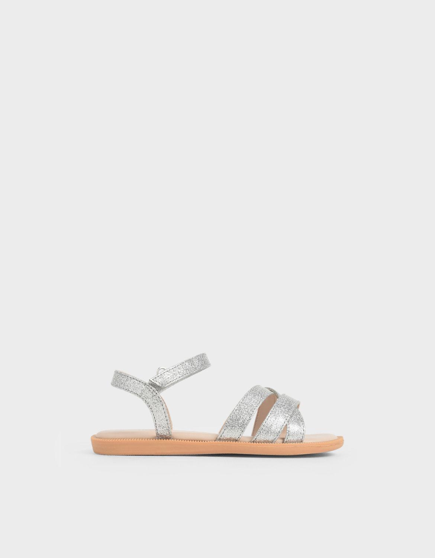 Silver Girls' Glitter Strappy Sandals