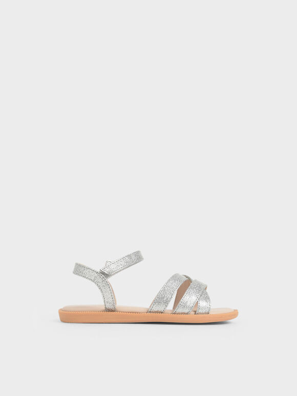 Girls' Glitter Strappy Sandals, Silver, hi-res