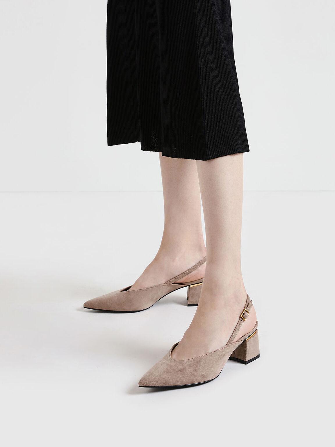 V-Cut Block Heel Textured Slingback Pumps, Nude, hi-res