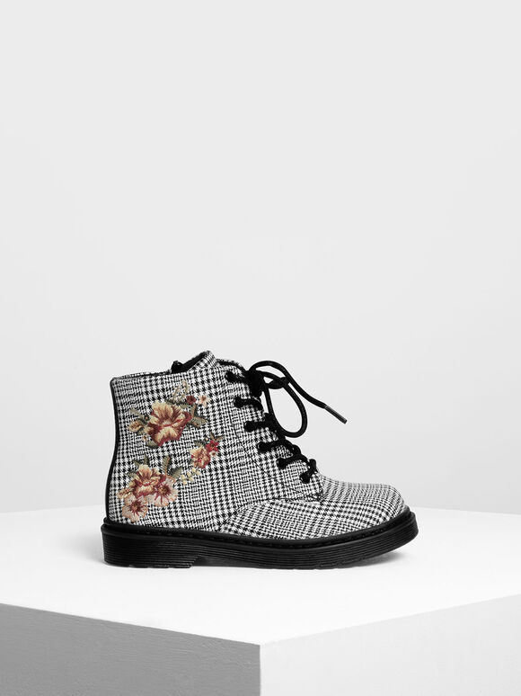 Kids Floral Embroidery Boots, Multi, hi-res