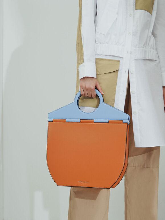 Geometric Tote Bag, Denim Blue, hi-res