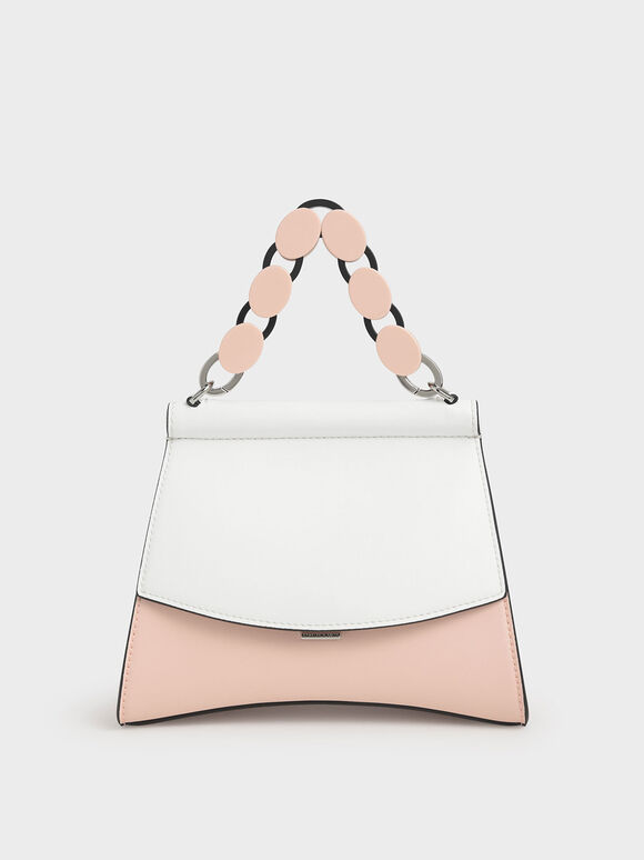 Acrylic Handle Sculptural Bag, Light Pink, hi-res