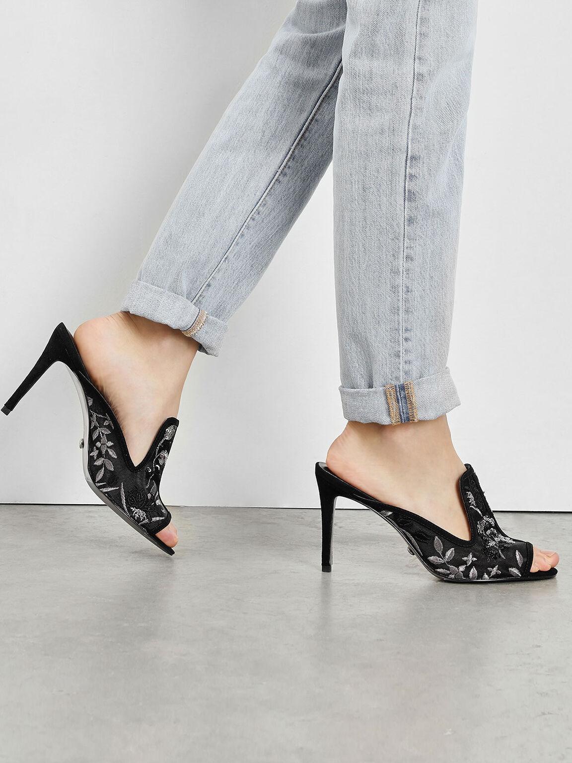 Mesh Embroidered Heels, Black, hi-res