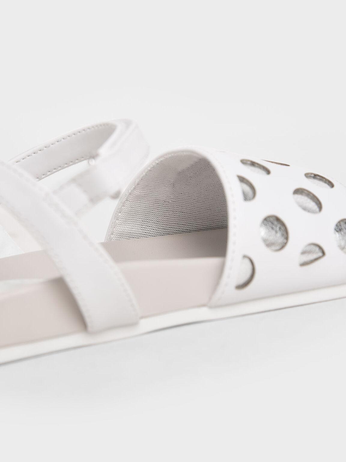 Girls' Laser-Cut Sandals, White, hi-res