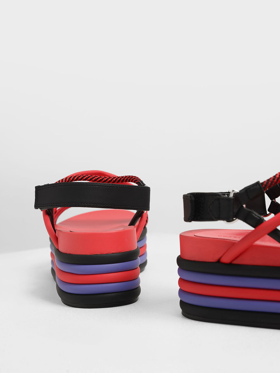 Multi-Coloured Strappy Flatforms, Red, hi-res