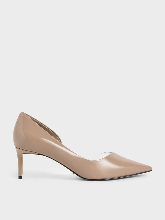 Patent Leather D'Orsay Pumps, Nude, hi-res