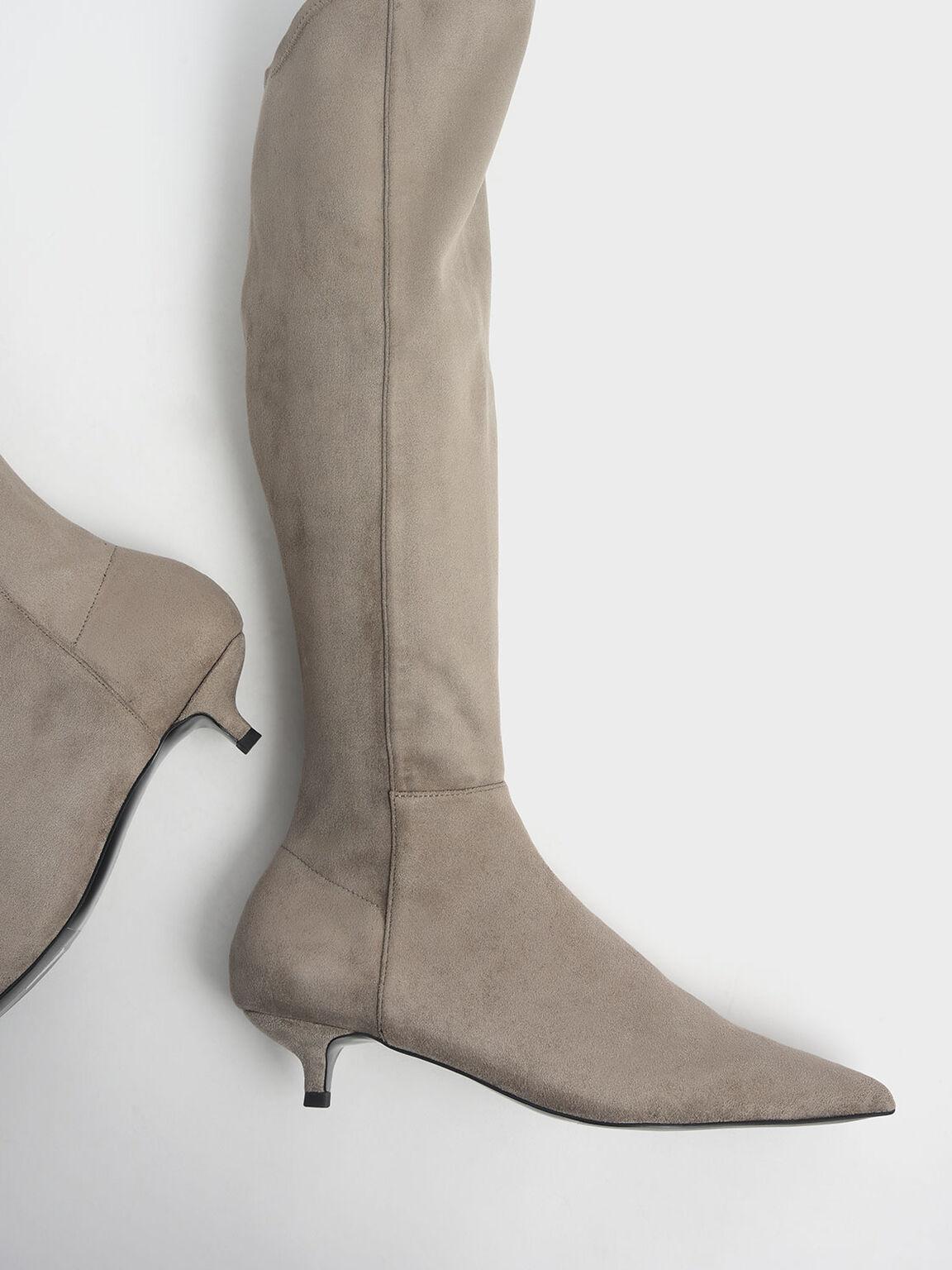 Textured Kitten Heel Knee High Boots, Taupe, hi-res