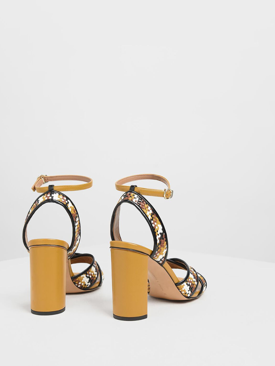 Woven Raffia Two-Tone Sandals, Brown, hi-res