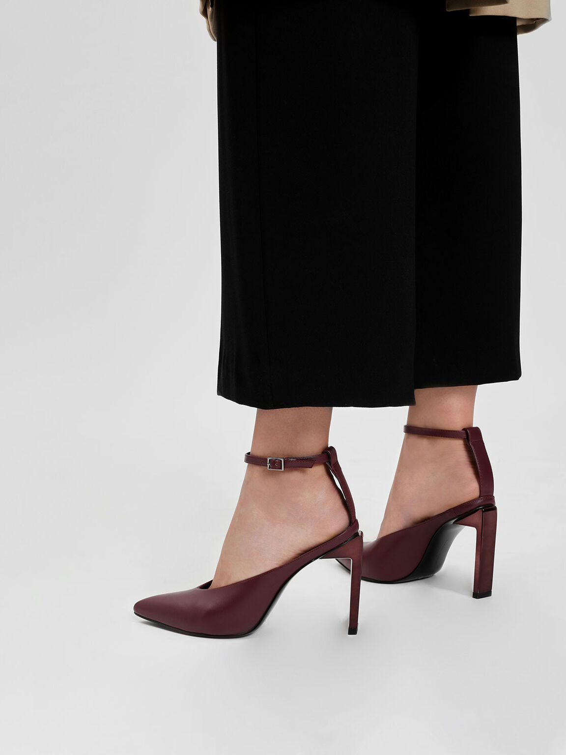 Ankle Strap Pointed Heels, Burgundy, hi-res