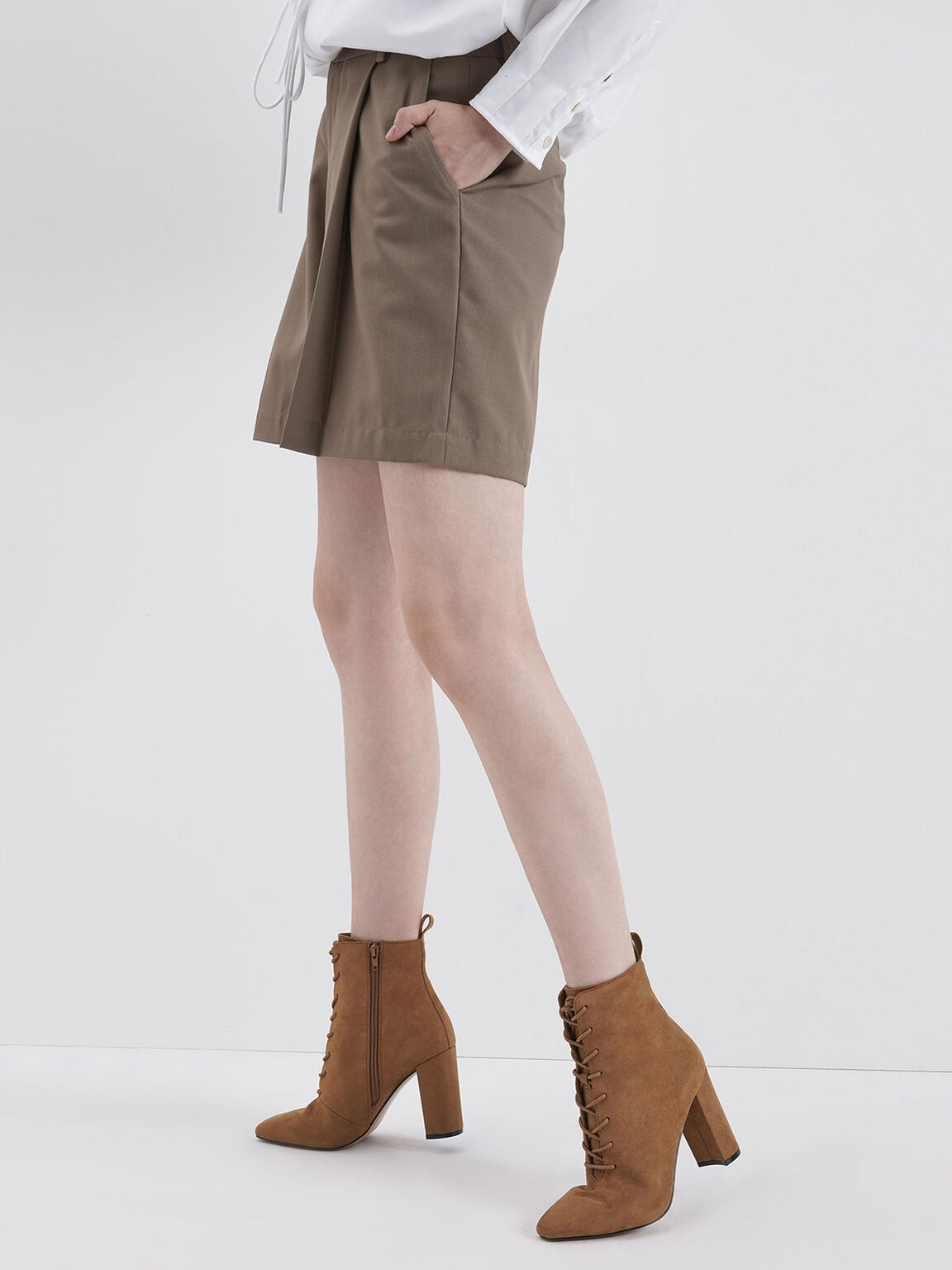 Textured Lace-Up Ankle Boots, Caramel, hi-res
