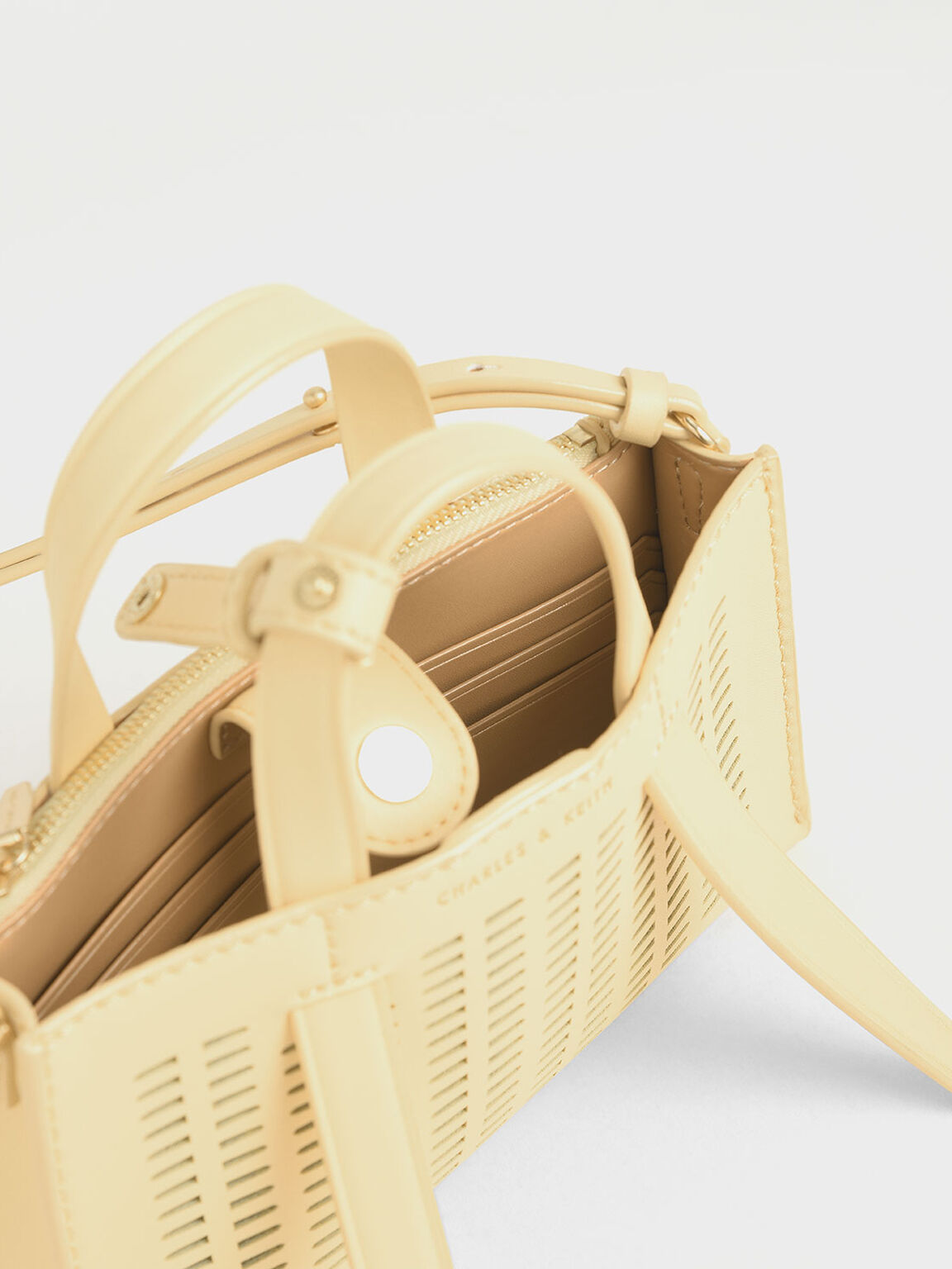 레이저-컷 더블 탑 핸들 백, 옐로우, hi-res