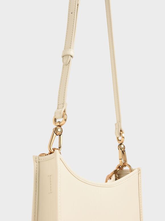 Ring Detail Hobo Bag, Chalk, hi-res