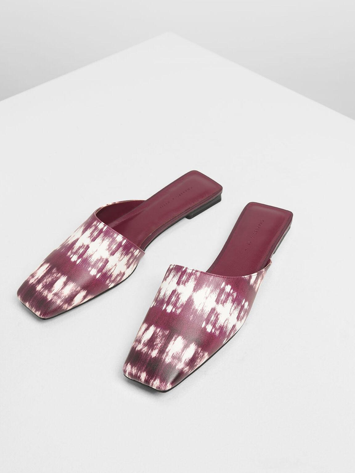 Printed Square Toe Asymmetrical Mules, Burgundy, hi-res