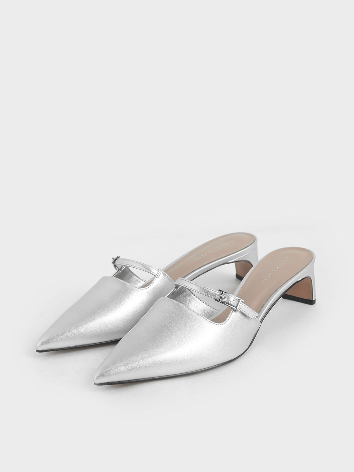 Metallic Cut-Out Mules, Silver, hi-res