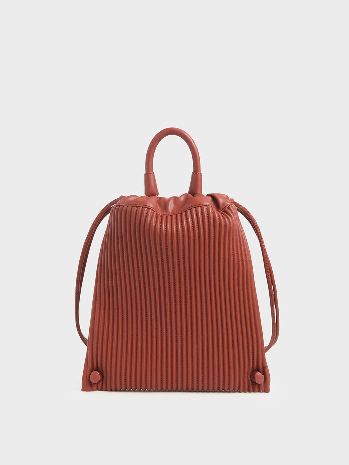 Textured Drawstring Backpack, Clay, hi-res