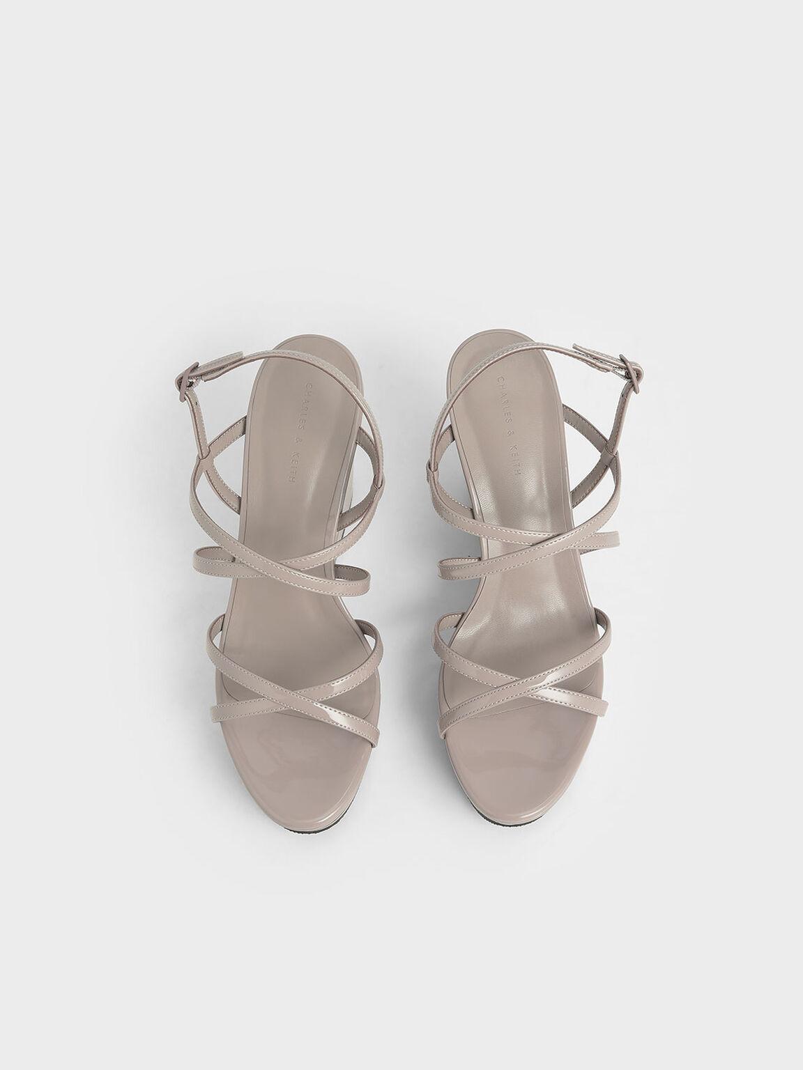 交叉帶厚底楔型鞋, 膚色, hi-res
