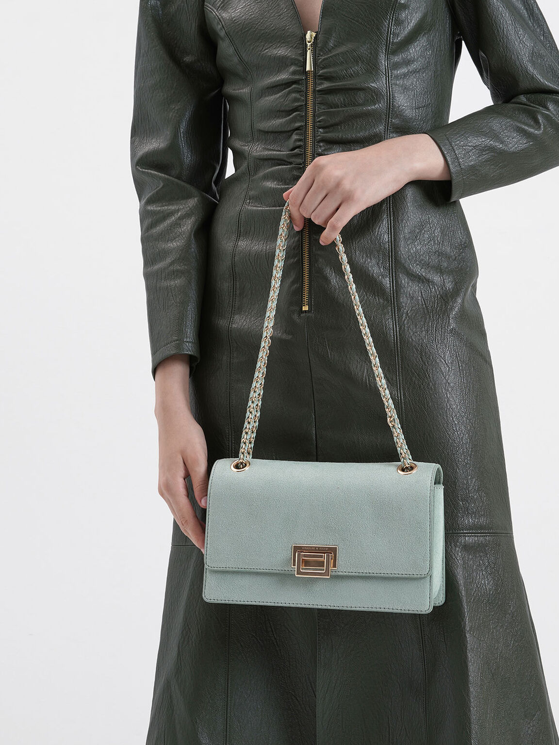 Textured Chain Handle Bag, Mint Green, hi-res