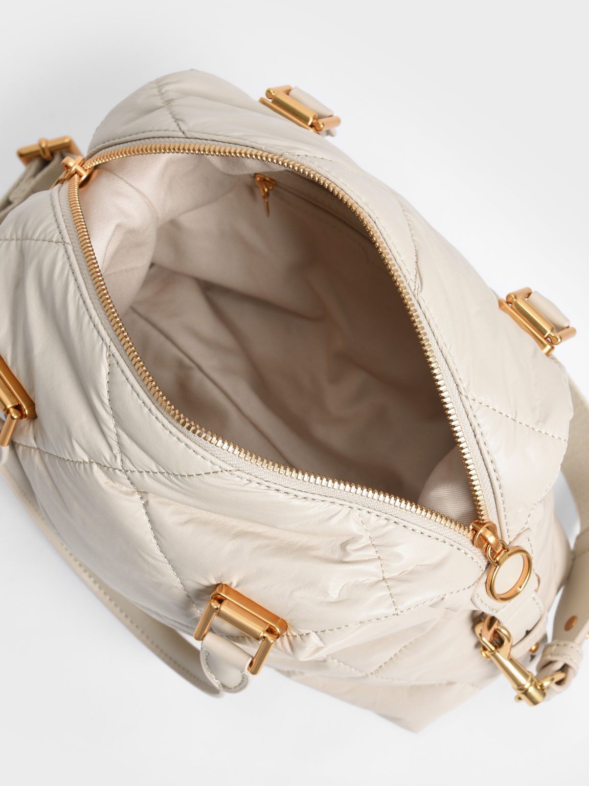 Puffy Quilted Tote Bag, Cream, hi-res