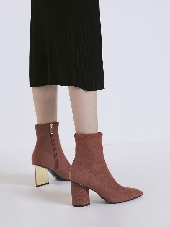 Sculptural Heel Corduroy Zip-Up Ankle Boots, Brick