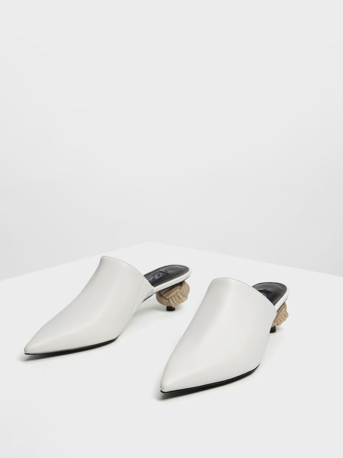 Spherical Heel Leather Mules, White, hi-res