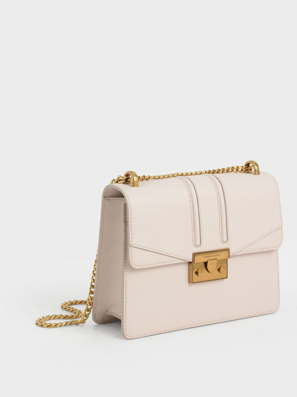 Metallic Push-Lock Shoulder Bag, Pink, hi-res