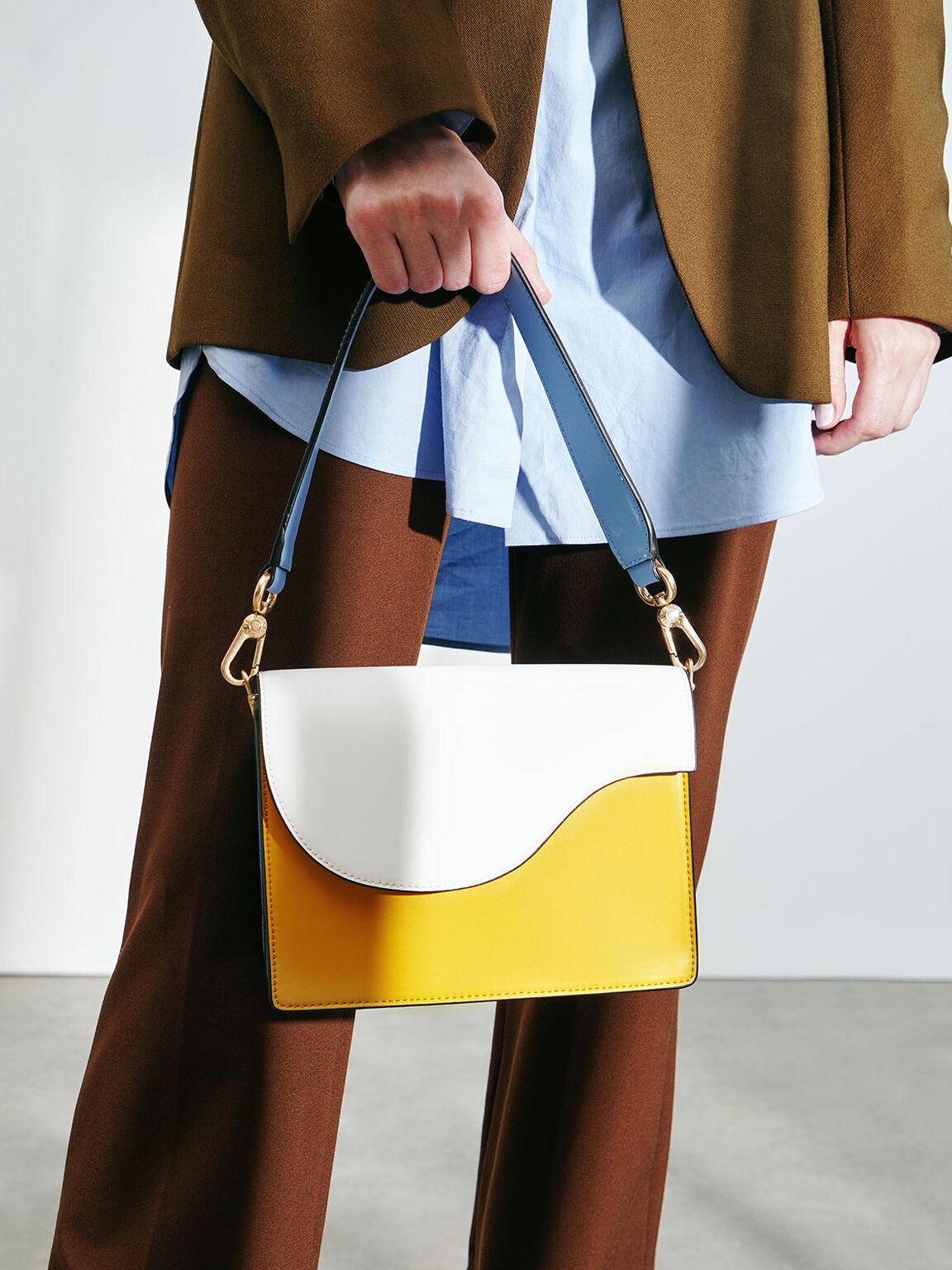 Two-Tone Angular Flap Shoulder Bag, Multi, hi-res