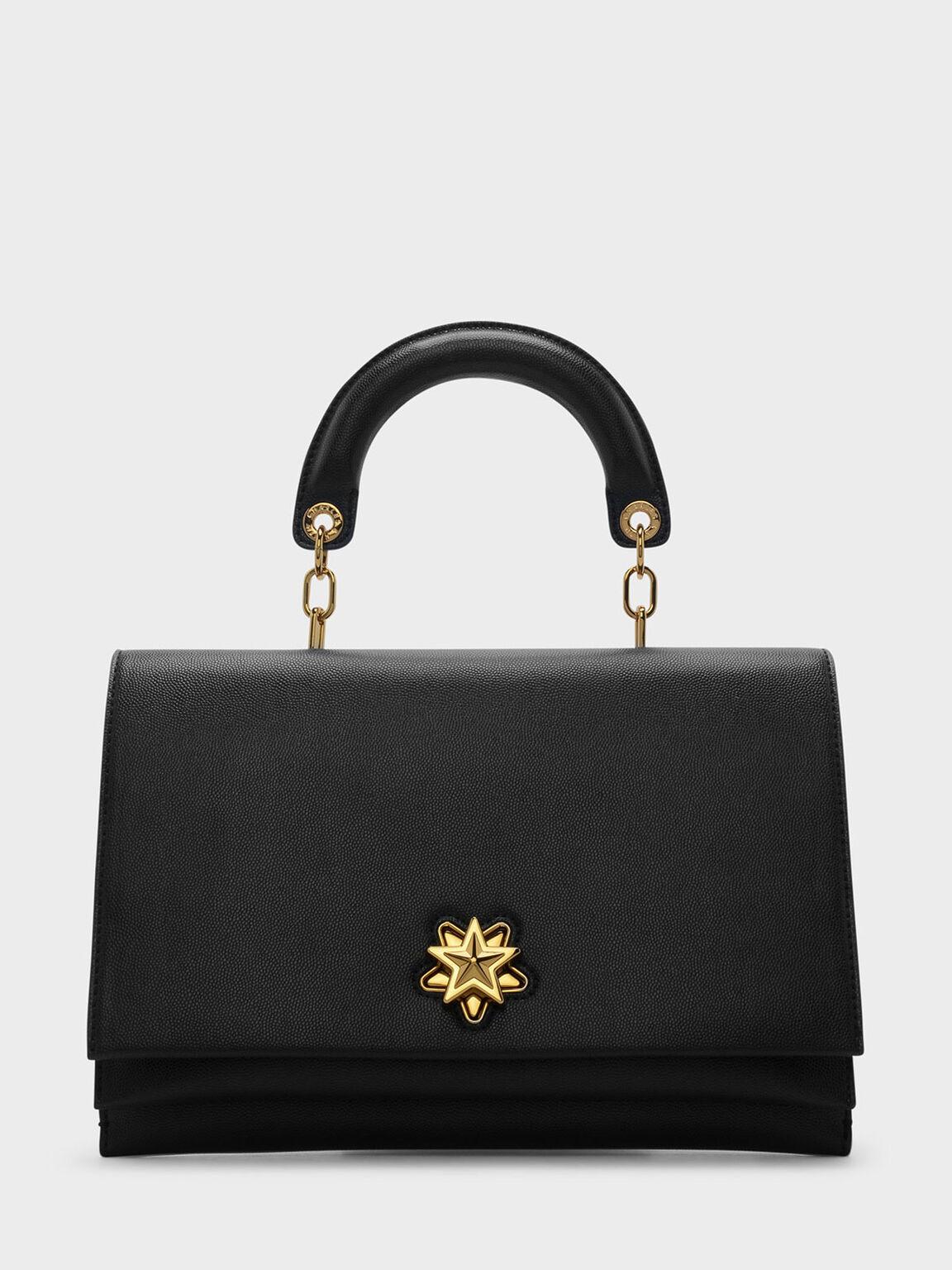 Star Detail Turn-Lock Crossbody Bag, Black, hi-res