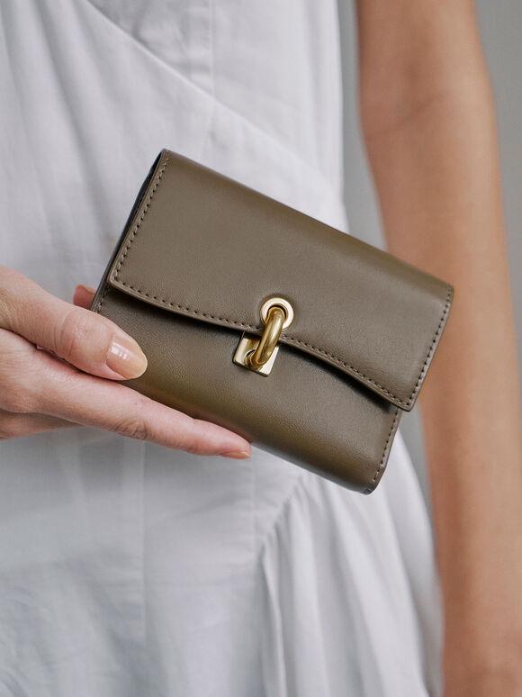 Turn-Lock Fold Wallet, Khaki, hi-res