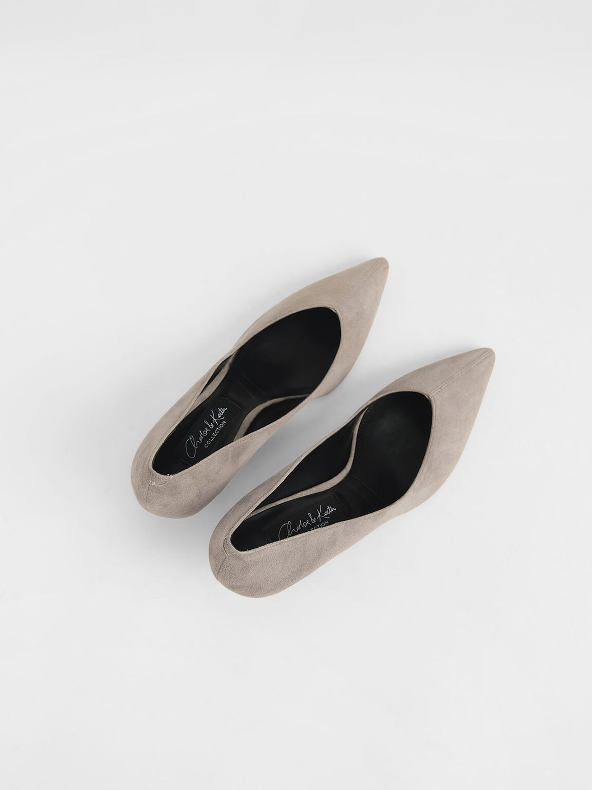 Kid Suede Cone Heel Pumps, Grey, hi-res