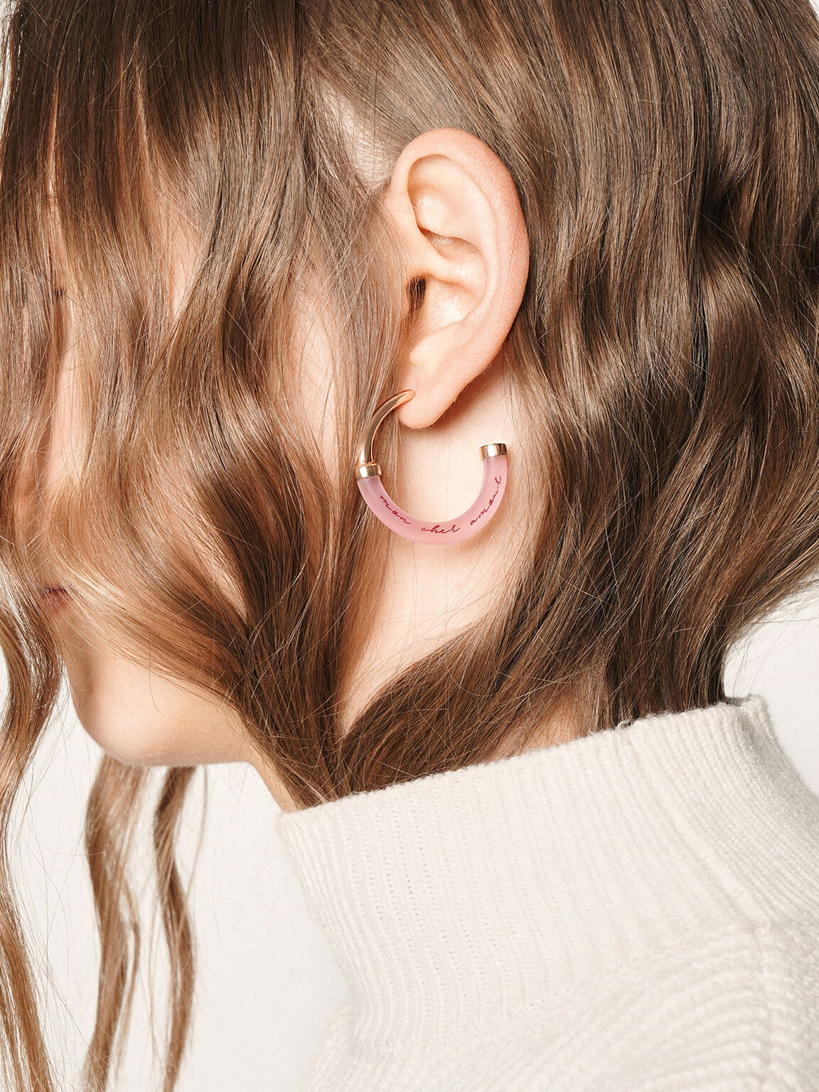 """""""Mon Cher Amour, Mon Bel Amour"""" Printed Hoop Earrings, Rose Gold, hi-res"""