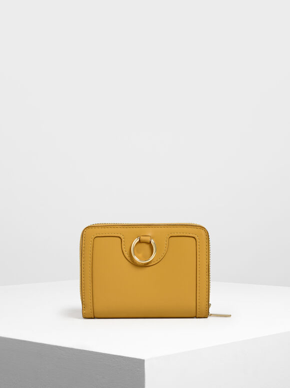 Ring Detail Wallet, Mustard, hi-res