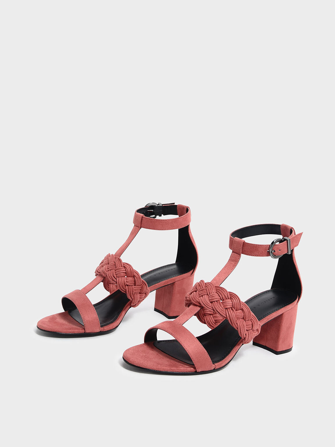 Braid Detail Caged Heeled Sandals, Pink, hi-res