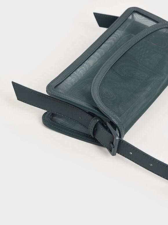 Mesh Shoulder Bag, Teal, hi-res