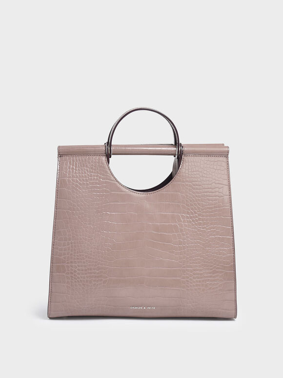 Croc-Effect Double Top Handle Structured Tote, Mauve, hi-res